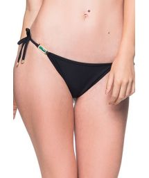 Black side-tie scrunch bikini bottom with stones - BOTTOM ROLOTE PRETO
