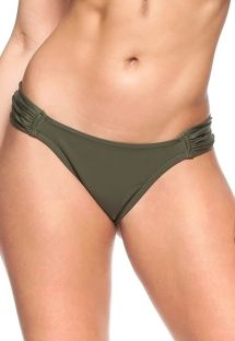 Dark green pleated fixed bikini bottom - BOTTOM RORAIMA