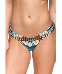 Brazilian bikini bottom pleated on sides with Cuba print - BOTTOM SANTIAGO DE CUBA