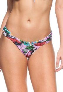 Cuba print pleated fixed bikini bottom - BOTTOM SUNRISE