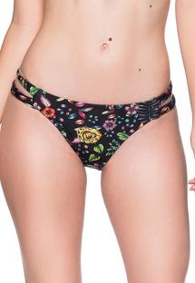Black floral bikini bottom double side stripe - BOTTOM TIRAS DREAM