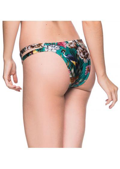 Green floral Brazilian bikini bottom double side - BOTTOM TIRAS TROPICAL GARDEN