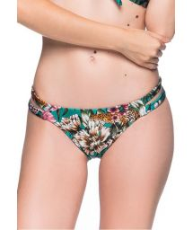 Green floral Brazilian bikini bottom double side - BOTTOM TIRAS TROPICAL GARDEN
