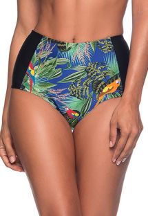 Colorful tropical high-waisted slimming bikini bottom - BOTTOM TQC ARARA AZUL