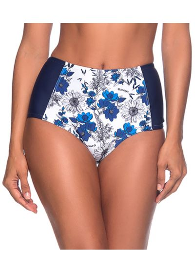 Floral blue & white high-waisted slimming bikini bottom - BOTTOM TQC ATOBA