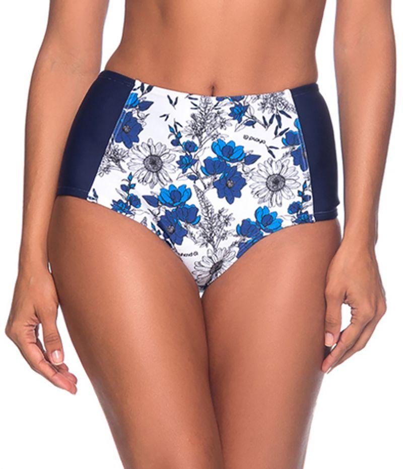 Blau/weißgeblümte schlankmachende Bikinihose - BOTTOM TQC ATOBA