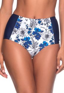 Floral blue & white high-waisted slimming bikini bottom - BOTTOM TQC ATOBA