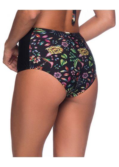 Floral black high-waisted slimming bikini bottom - BOTTOM TQC DREAM