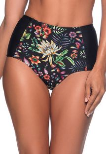Floral black high-waisted slimming bikini bottom - BOTTOM TQC DREAM