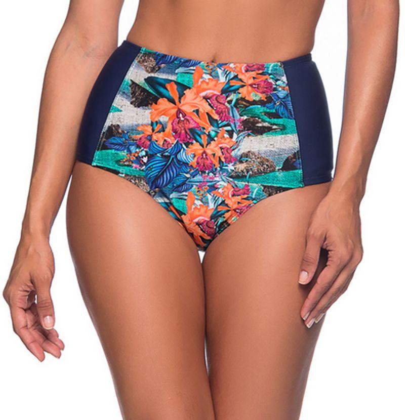 Tropical high-waisted slimming bikini bottom - BOTTOM TQC NORONHA FLORAL