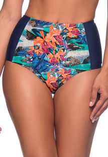 Tropical high-waisted slimming bikini bottom - BOTTOM TQC NORONHA FLORAL