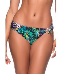 Colorful floral side--knotted bikini bottom - BOTTOM TQC TRANSPASSADO ATALAIA