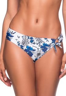 Blue & white floral single side-tied bikini bottom - BOTTOM TQC TRANSPASSADO ATOBA