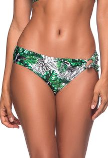 Green foliage side-knotted bikini bottom - BOTTOM TQC TRANSPASSADO VIUVINHA
