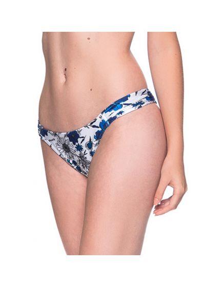 Blåvit blommönstrad bikininederdel med plisserade sidor - BOTTOM TURBINADA ATOBA