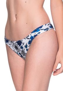 Blue & white floral bikini bottom pleated sides - BOTTOM TURBINADA ATOBA