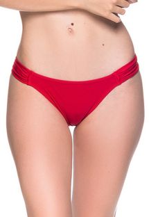 Red side-pleated bikini bottom - BOTTOM TURBINADA MULUNGU