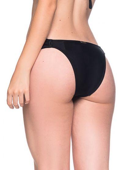 Black side-pleated bikini bottom - BOTTOM TURBINADA PRETO