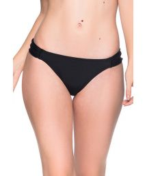Black side-pleated bikini bottom - BOTTOM TURBINADA PRETO