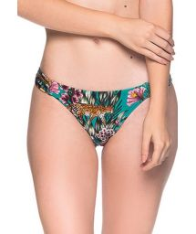 Green floral bikini bottom pleated sides - BOTTOM TURBINADA TROPICAL GARDEN