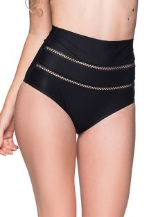 Black high-waist bikini bottom with openwork - BOTTOM ZIG ZAG PRETO
