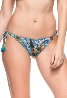 Colourful print scrunch bottom with wavy edges - CALCINHA ABUDANTE SOL