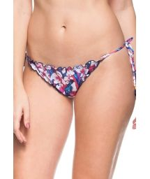 Pink and blue floral scrunch bottoms with tassels - CALCINHA AGUAS TRANSPARENTES