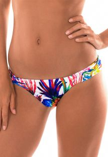 Tropical print tanga bikini bottom with pleated sides - CALCINHA ARARAS