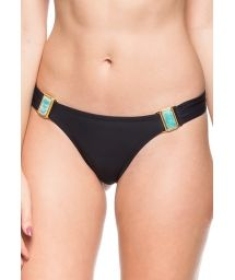 Black swimsuit tanga pleated sides and green stones - CALCINHA BARREIRA DE CORAL