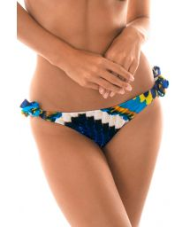 Feather-printed Brazilian bikini bottom with side ties - CALCINHA COCAR ARGOLA