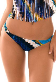 Blue feather-printed Brazilian scrunch bikini bottom - CALCINHA COCAR CORACAO