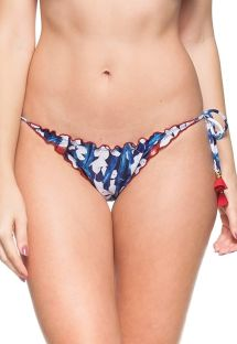 Floral blue/white scrunch bottom with red tassels - CALCINHA CRUZEIRO DO SUL