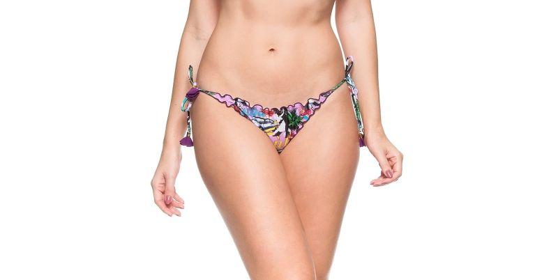 Rosa Scrunch-Bikinihose, Pompons, Kuba-Print - CALCINHA CUBA ROSA