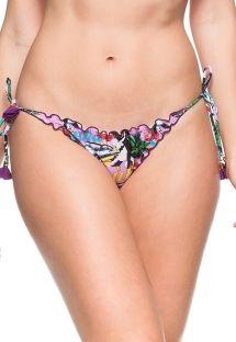 Scrunch bikinitrusser med lyserødt Cuba-print og pomponer - CALCINHA CUBA ROSA