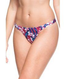 Pink and blue print non-adjustable bathing thong - CALCINHA DESTINO PARADISIACO