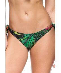 Black floral print Brazilian bottom with decorative ties - CALCINHA DON JUAN