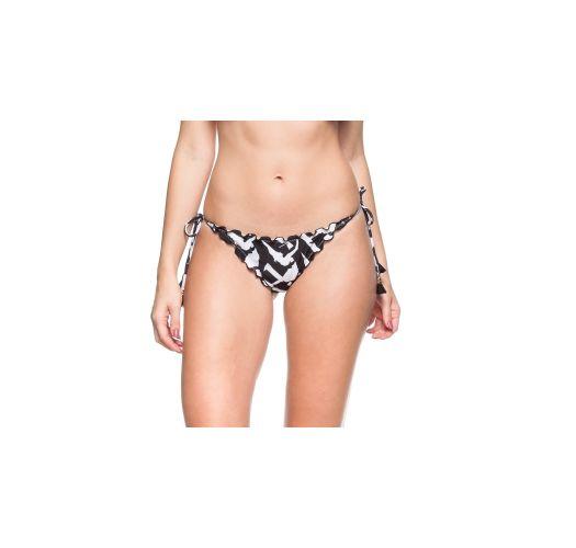 Black and white scrunch bottom with tassels - CALCINHA DUAS PEROLAS
