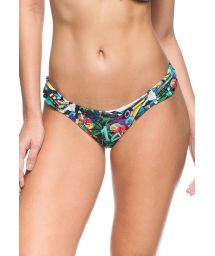 Multicoloured Cuba-print tanga with ruched sides - CALCINHA EUCALIPTO
