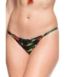 Black floral adjustable thong bikini briefs - CALCINHA EUFRATES