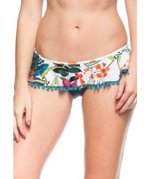 Floral white mini skirt style Brazilian bottom - CALCINHA ILHA CARIBENHA