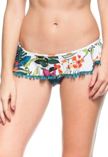Floral white mini skirt style Brazilian bottom - CALCINHA ILHA CARIBENHA