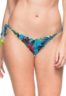 Blue Brazilian scrunch bottom plant theme print with tassels - CALCINHA ILHA DAS ESPECIARIAS