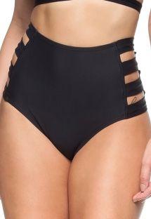 High waist Brazilian bottom black with openwork sides - CALCINHA ILHAS VIRGENS