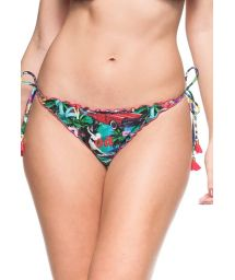 Multicoloured Cuba-print scrunch bikini bottoms with tassels - CALCINHA LAGOA PROTEGIDA