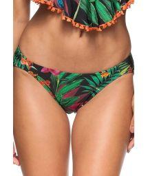 Fixed black tropicalpattern swimsuit bottom - CALCINHA LAGUNA