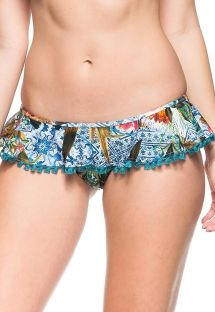 Printed Brazilian bottom with skirt-style flounce - CALCINHA NUKU HIVA