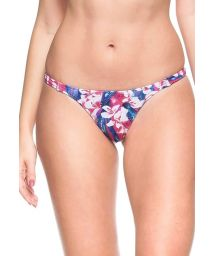 Pink and blue floral tanga with thin elasticated sides - CALCINHA OCEANO INDICO