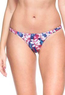 Tanga de lados finos elásticos floral rosa y azul  - CALCINHA OCEANO INDICO