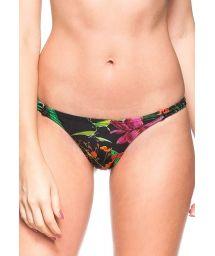 Black tropical thong bikini briefs with slim, elasticated sides - CALCINHA PARANOA