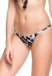 Black and white adjustable Brazilian bottom - CALCINHA PEQUENA ILHA